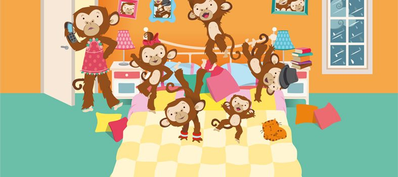 """Malpes Mit Tzeklapte Kep (Monkeys and head injuries), song based on """"Five Little Monkeys Jumping On The Bed"""""""