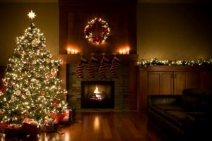 Christmas-Tree-Wreath-and-Garland-Inside-Living-Room