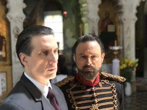 Hershey Felder as Sergei Rachmaninoff with J Anthony Crane as Czar Nicholas II in Nicholas, Anna & Sergei